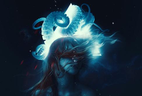Обои Девушка и осьминог под водой, by AbbeyMarie