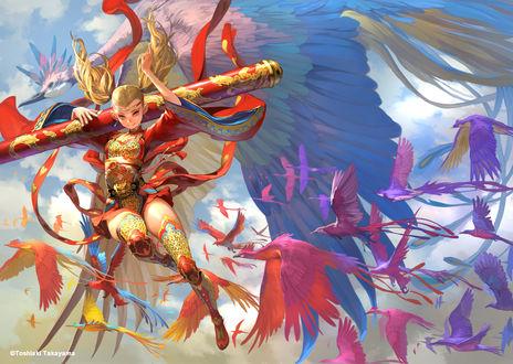 Обои Девушка на фоне большой птицы, автор Takayama Toshiaki