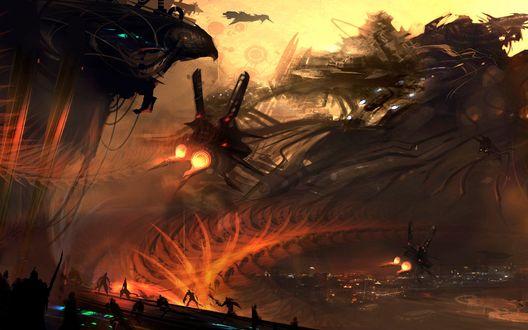 Обои Космические корабли бороздят абстрактные киберпанковые пейзажи