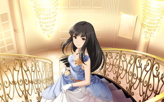 Обои Чиаки Курокава / Тиаки / Kurokawa Chiaki из аниме Идолмастер: Девушки-Золушки / Idolmaster / THE iDOLM@STER: Cinderella Girls в бальном платье стоит в светлом особняке