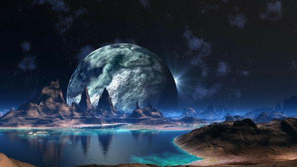Обои Фантастический ночной пейзаж на другой планете в космосе