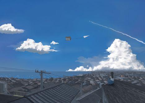 Обои Девушка сидит на крыше и смотрит на, летящей по небу дом, привязанный к бумажному самолетику, by おかゆー