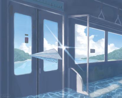 Обои Бумажный самолетик в вагоне поезда, пол которого затоплен водой, by おかゆー