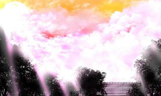 Обои Розовые облака, сквозь которые проходит солнечный свет, над деревьями у железной ограды, by saya