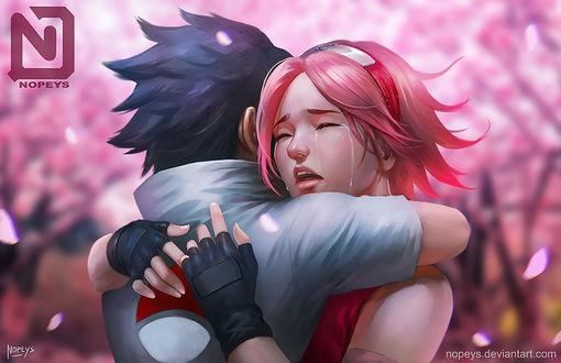 Обои Uchiha Sasuke / Учиха Саске и Sakura Haruno / Сакура Харуно из аниме Наруто / Naruto, by NOPEYS