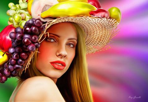 Обои Портрет девушки в соломенной шляпе с фруктами и ягодами