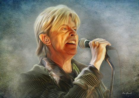 Обои Британский рок-певец, автор своих песен Дэвид Боуи / David Bowie, by Ray Guselli