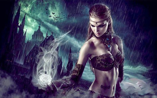 Обои Девушка держит в руке дымящуюся белую розу на фоне грозового неба с дождем и старинных замков