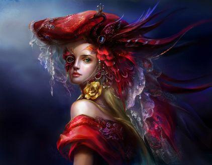 Обои Девушка в головном уборе с украшениями и перьями