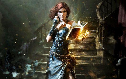 Обои Девушка стоит у лестницы с магической книгой