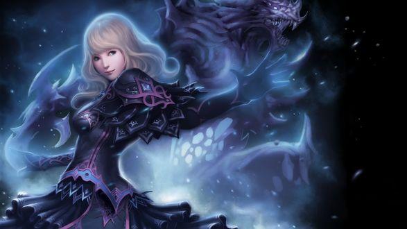 Обои Светловолосая девушка, позади нее монстр