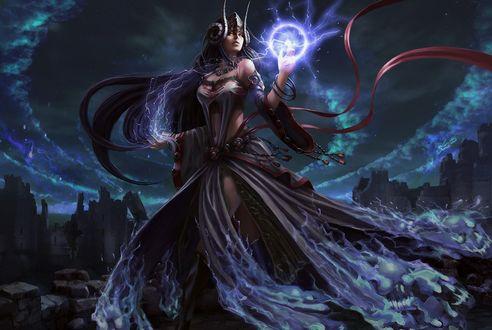 Обои Девушка с магией и молниями в руках на фоне разрушенного города