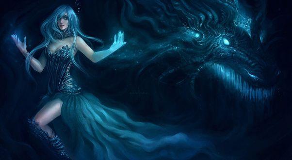 Обои Девушка с синими волосами на фоне дракона
