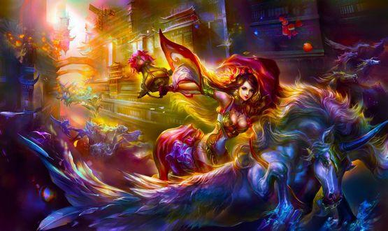 Обои Девушка верхом на единороге с крыльями с фонарем в руке