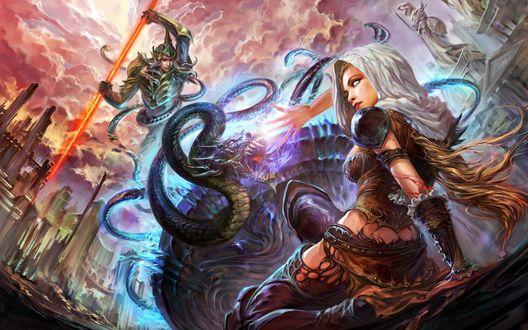 Обои Светловолосая девушка с бесцветными глазами закрывается рукой от дракона, позади дракона воин с огненным оружием