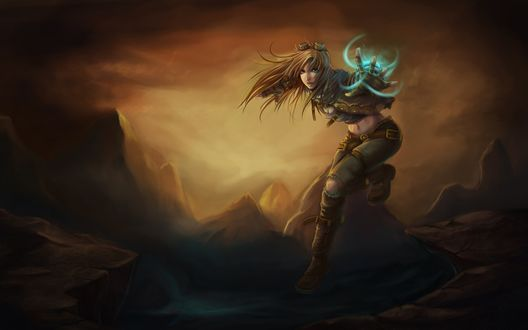 Обои Девушка со светящимся предметом на руке в прыжке на фоне гор