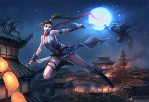 Обои Девушка- воин в руках с оружием, в прыжке, позади нее ниндзя на фоне горящего дома неба и луны