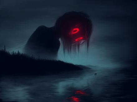 Обои Девочка-приведение с красными светящимися глазами смотрит в воду, выглядывая из-за деревьев, by Klaufir