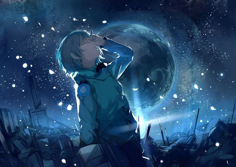 Обои Девочка стоит на фоне ночного неба с планетой