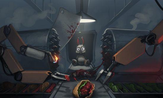 Обои Кролик на смертельном станке пищевой промышленности