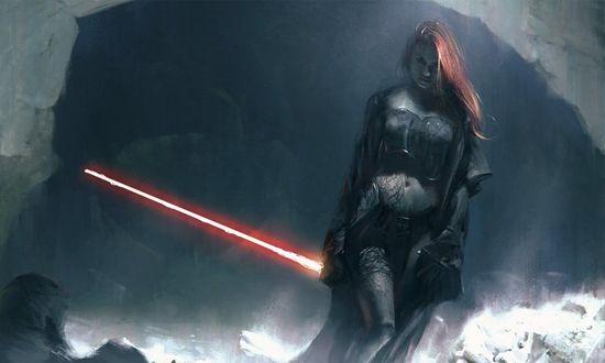 Обои Девушка в пещере с лазерным мечом