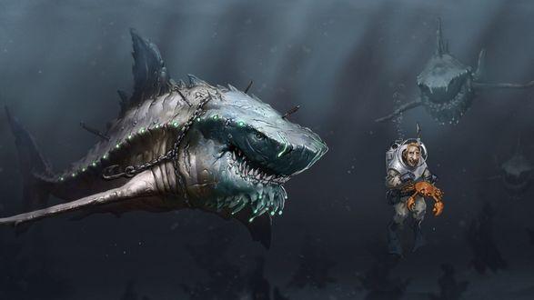 Обои Механизированные акулы окружили аквалангиста-исследователя