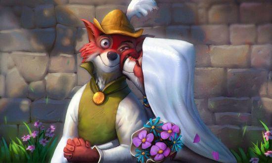 Обои Лиса целует в щеку лисенка-Робина Гуда