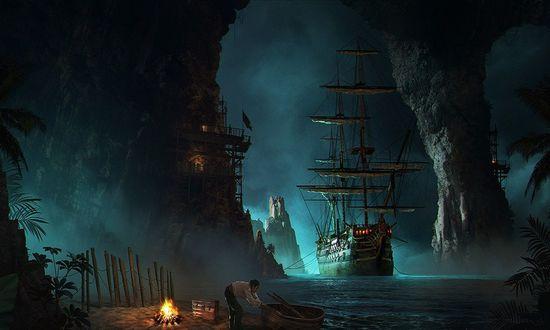 Обои Пиратский корабль причалил к берегу острова