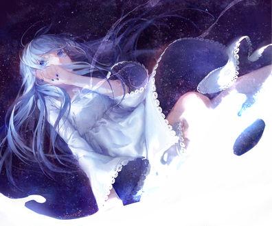 Обои Плачущая девушка, олицетворяющая Млечный путь, by moss