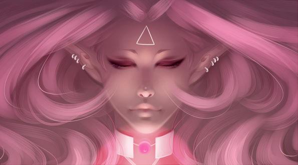 Обои Розоволосая девушка эльфийка с закрытыми глазами, by Nychse