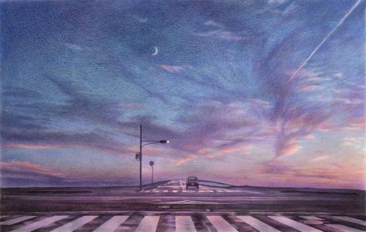 Обои Автомобиль едит по дороге под облачным небом