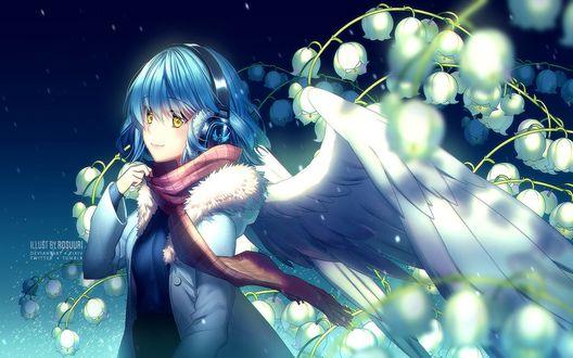 Обои Девушка в наушниках с крылышками стоит у веточки ландышей, by Rosuuri