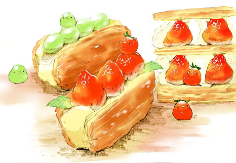 Обои Фруктово-ягодные птички на пироженках, by チャイ