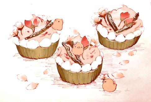 Обои Цветущие веточки сливы и птички на пироженках, by チャイ