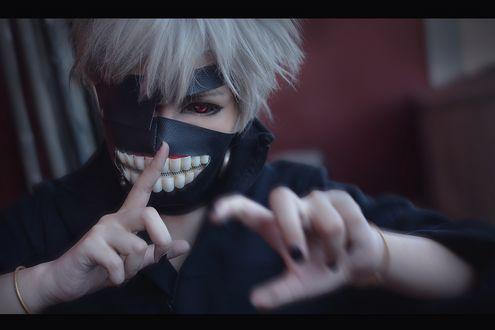 Обои Косплей Ken Kaneki / Кен Канеки из аниме Tokyo Ghoul / Токийский Гуль, by KURA-rin