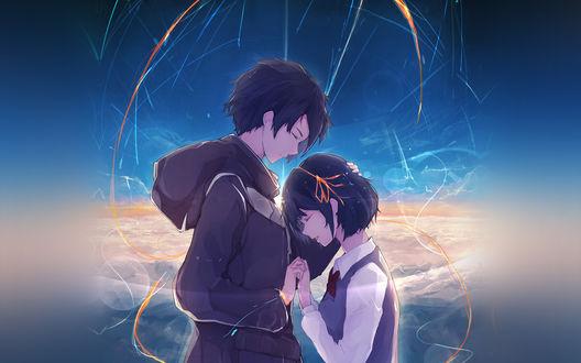 Обои Таки Тачибана / Taki Tachibana и Мицуха Миямизу / Mitsuha Miyamizu из аниме Твое имя / Kimi no Na wa