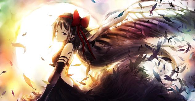Обои Девушка с черными крыльями, by 冷蝉