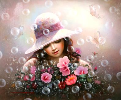 Обои Девочка в шляпке с цветами на фоне мыльных пузырей и бабочек