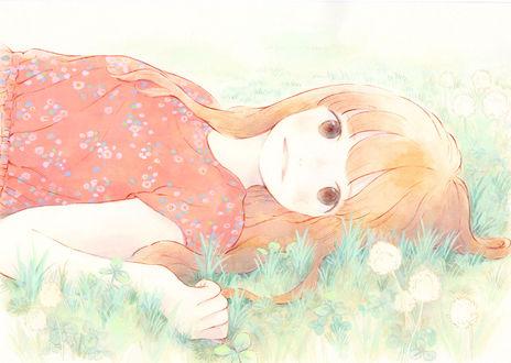 Обои Девушка лежит в траве, by はるか