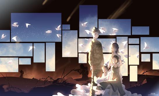 Обои Солдат и трое девочек стоят на фоне неба с белыми птицами, которое закрывает войну, by MoryaPanima