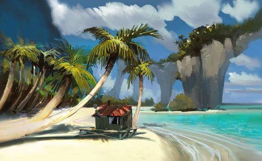 Обои Рисунок хижины на пляже