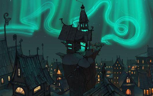 Обои Ночной город с таинственным духом в небе