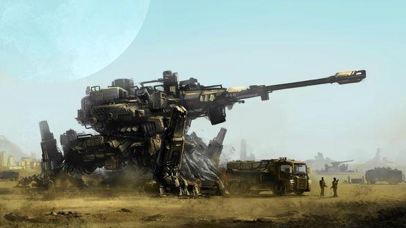 Обои Огромная артиллерийская установка на страже города