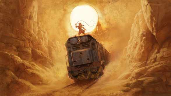 Обои Ковбой на мчащемся поезде среди пустыни