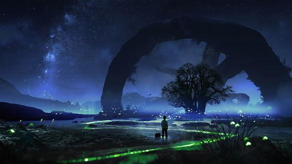 Обои Ребенок на ночной фантастической планете