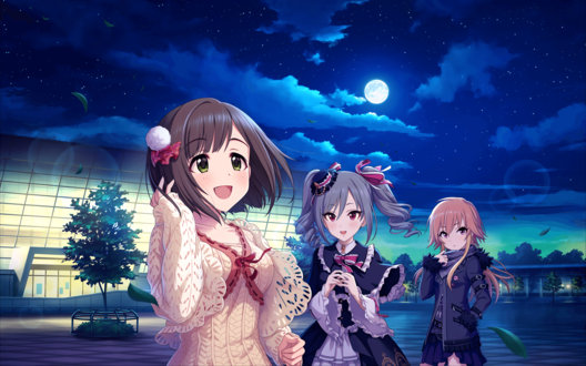 Обои Мику Маэкава / Maekawa Miku, Ранко Канзаки / Kanzaki Ranko и Аска Ниномия / Ninomiya Asuka из аниме Идолмастер: Девушки-Золушки / Idolmaster / THE iDOLM@STER: Cinderella Girls стоят возле аэропорта в лунную ночь