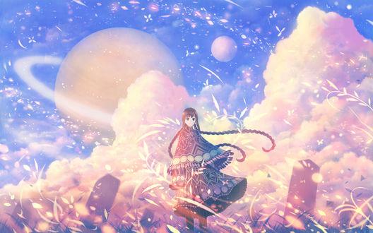 Обои Девушка стоит в траве на фоне облачного неба, в котором планеты, by bounin