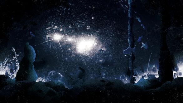 Обои Лучи света проникают под воду, by Y_Y
