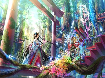 Обои Девушка с цветущей веточкой сакуры в руках стоит в воротах тории, by 藤原