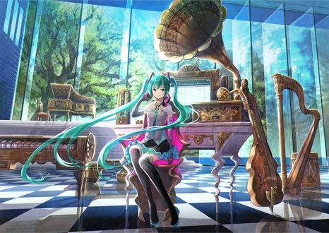 Обои Vocaloid Hatsune Miku / Вокалоид Хатсунэ Мику, by 藤原